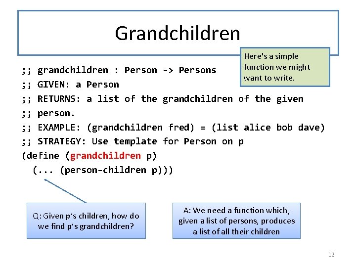 Grandchildren Here's a simple function we might want to write. ; ; grandchildren :