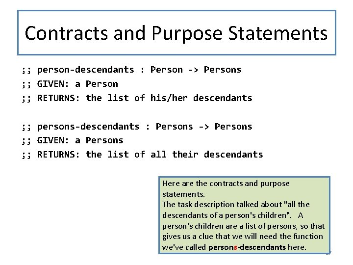 Contracts and Purpose Statements ; ; person-descendants : Person -> Persons ; ; GIVEN:
