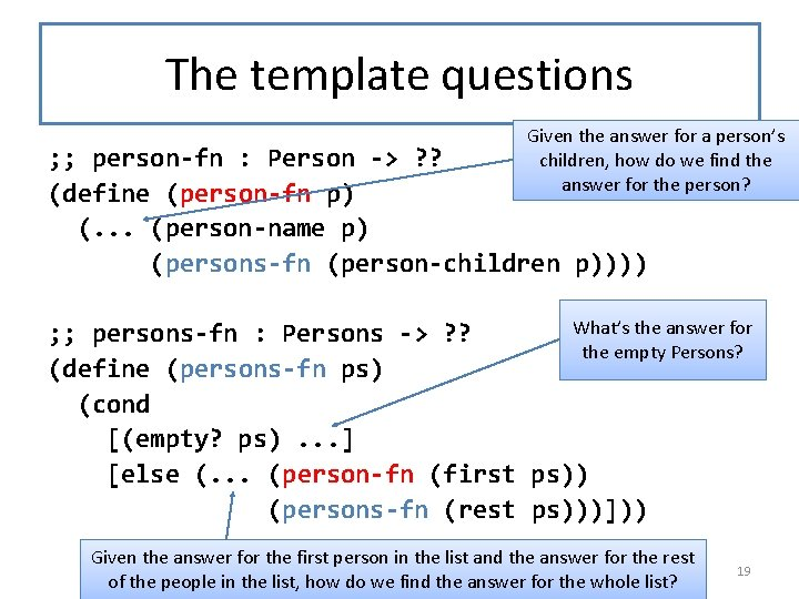 The template questions And here the Given the answer forare a person's template as
