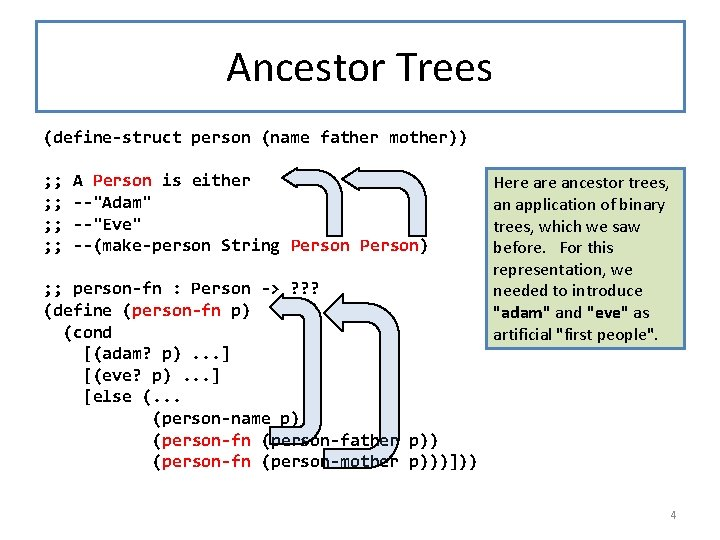 Ancestor Trees (define-struct person (name father mother)) ; ; ; ; A Person is