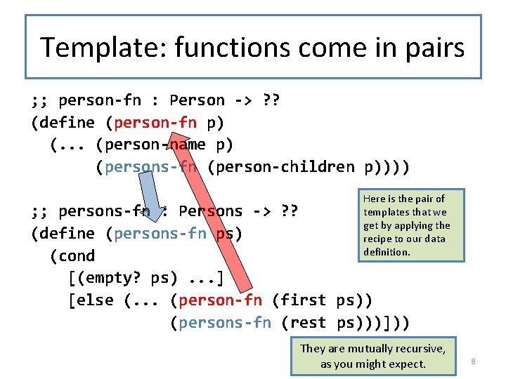 Template: functions come in pairs ; ; person-fn : Person -> ? ? (define
