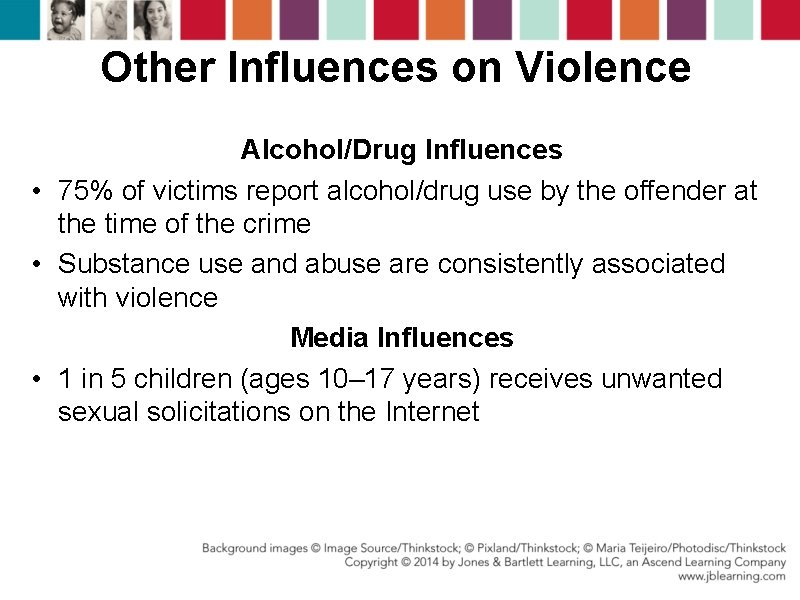 Other Influences on Violence Alcohol/Drug Influences • 75% of victims report alcohol/drug use by