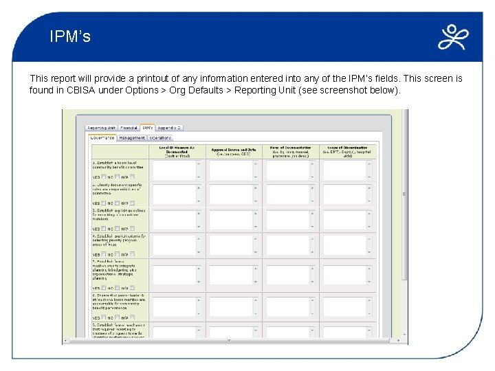 IPM's This report will provide a printout of any information entered into any of