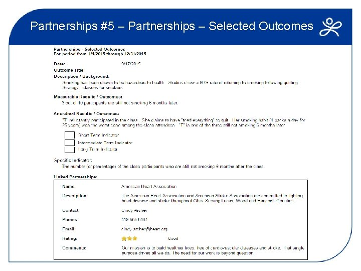 Partnerships #5 – Partnerships – Selected Outcomes