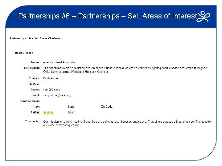 Partnerships #6 – Partnerships – Sel. Areas of Interest