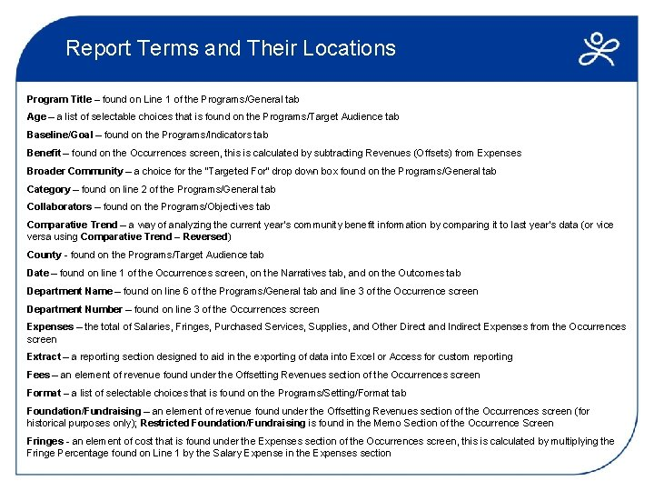 Report Terms and Their Locations Program Title – found on Line 1 of the