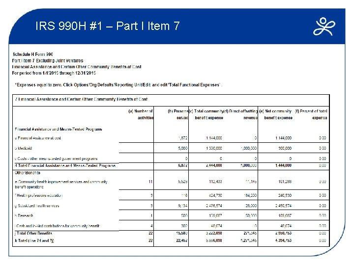 IRS 990 H #1 – Part I Item 7