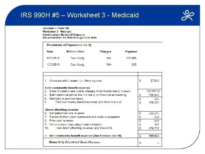 IRS 990 H #5 – Worksheet 3 - Medicaid