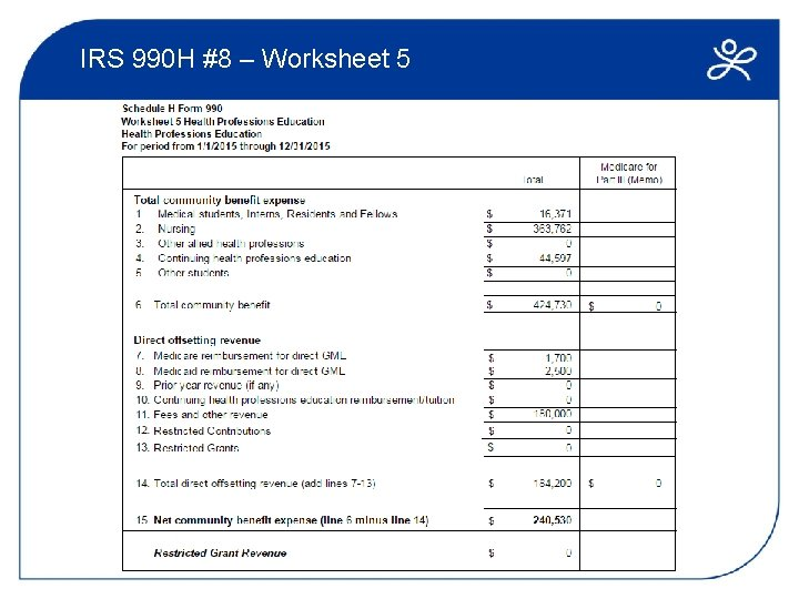 IRS 990 H #8 – Worksheet 5