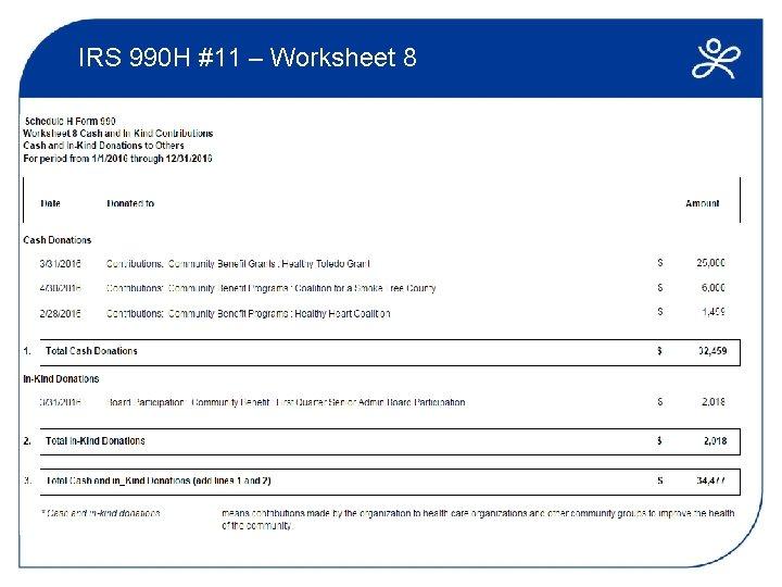 IRS 990 H #11 – Worksheet 8