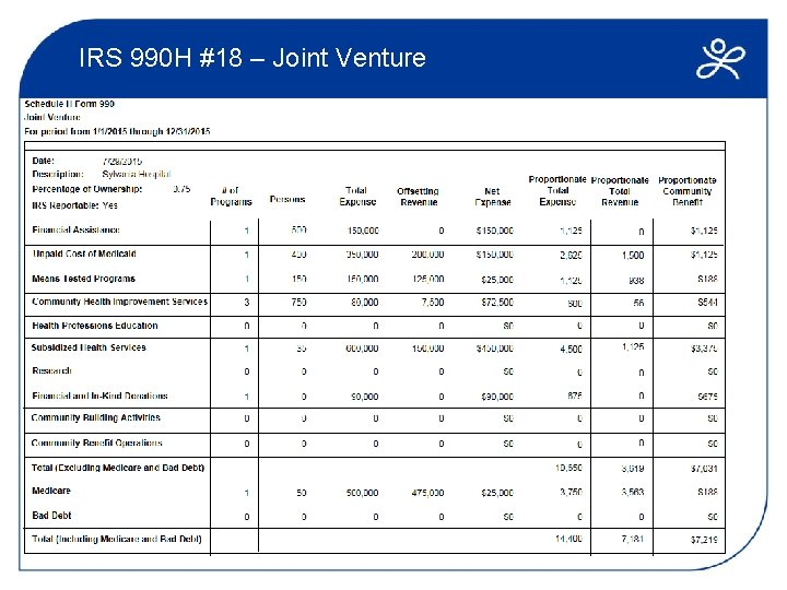 IRS 990 H #18 – Joint Venture