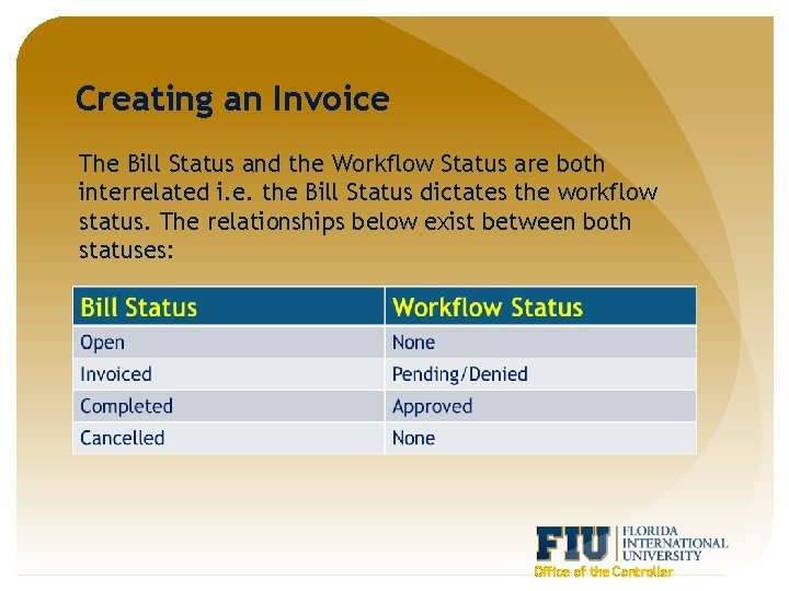 Creating an Invoice The Bill Status and the Workflow Status are both interrelated i.
