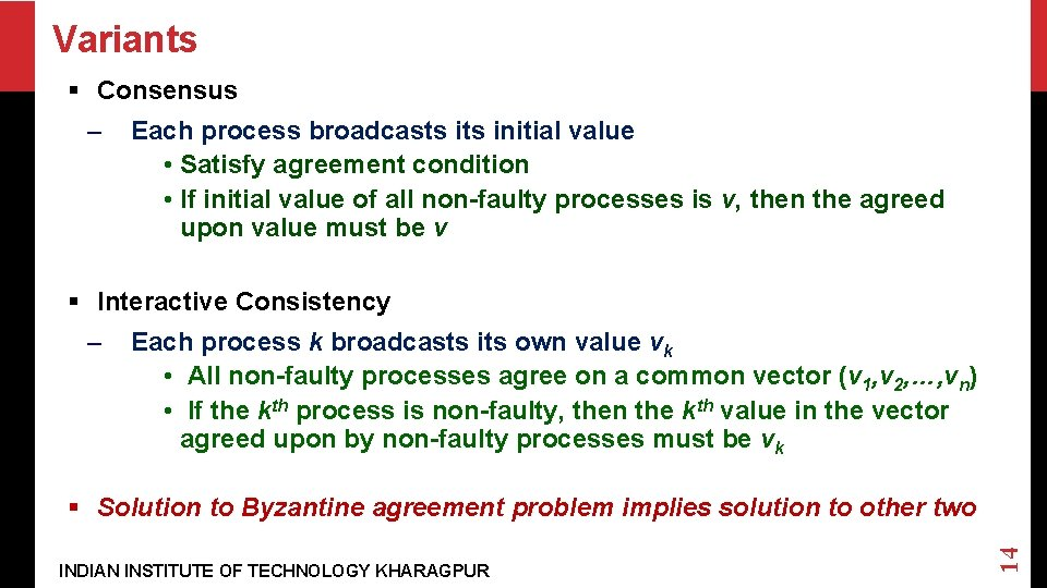 Variants § Consensus – Each process broadcasts initial value • Satisfy agreement condition •