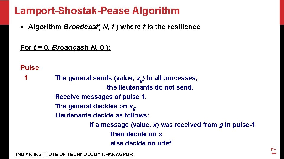 Lamport-Shostak-Pease Algorithm § Algorithm Broadcast( N, t ) where t is the resilience For