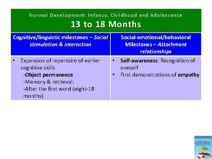 Normal Development: Infancy, Childhood and Adolescence 13 to 18 Months Cognitive/linguistic milestones – Social