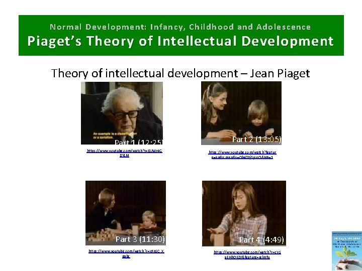 Normal Development: Infancy, Childhood and Adolescence Piaget's Theory of Intellectual Development Theory of intellectual