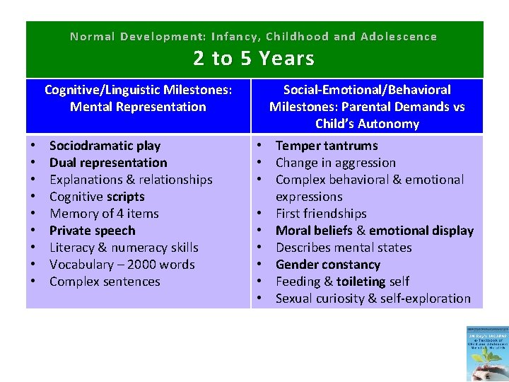 Normal Development: Infancy, Childhood and Adolescence 2 to 5 Years Cognitive/Linguistic Milestones: Mental Representation