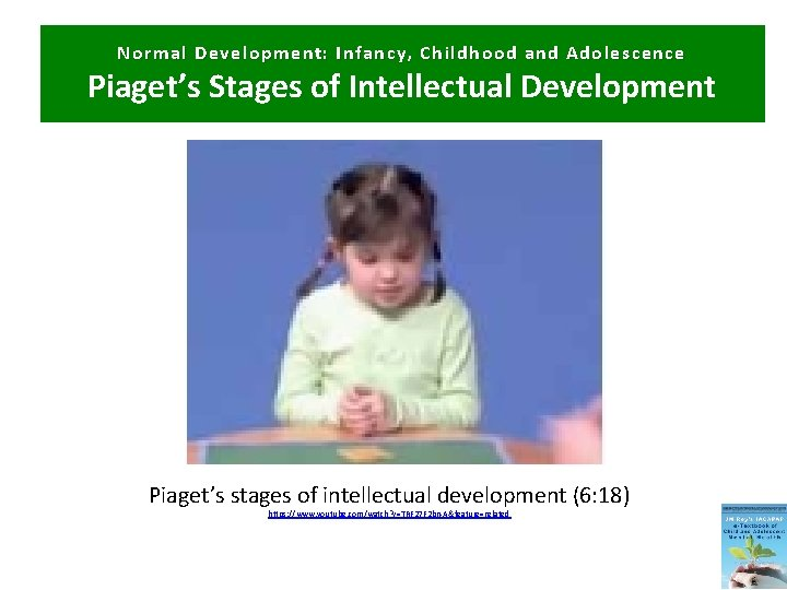 Normal Development: Infancy, Childhood and Adolescence Piaget's Stages of Intellectual Development Piaget's stages of