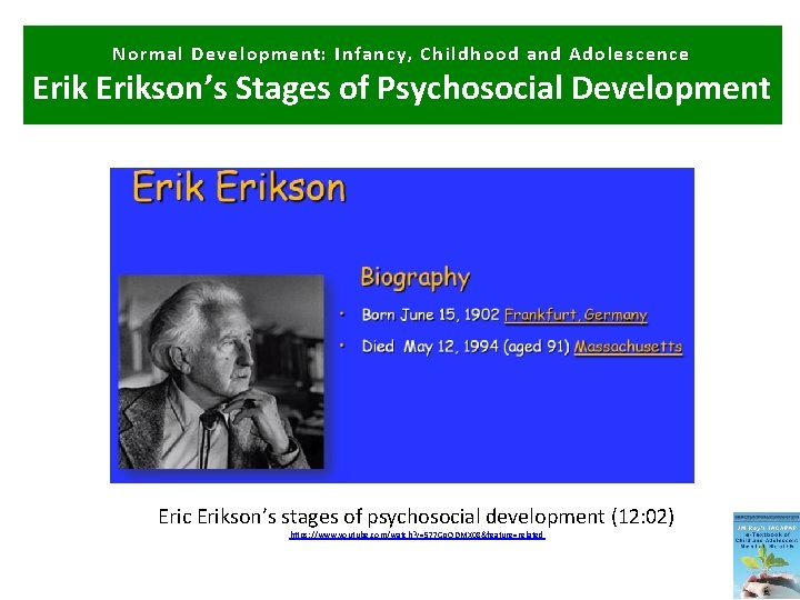 Normal Development: Infancy, Childhood and Adolescence Erikson's Stages of Psychosocial Development Eric Erikson's stages