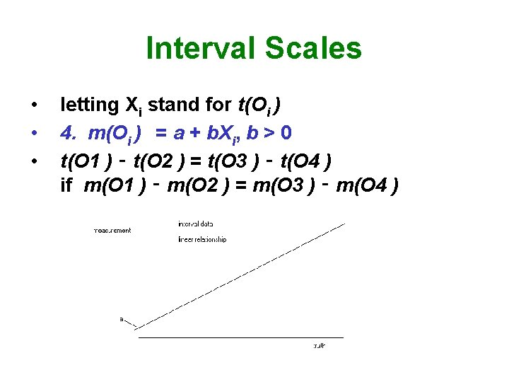 Interval Scales • • • letting Xi stand for t(Oi ) 4. m(Oi )
