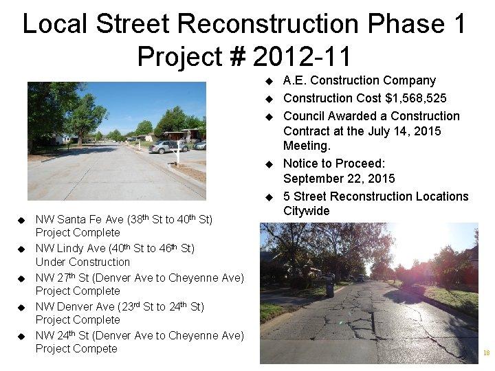 Local Street Reconstruction Phase 1 Project # 2012 -11 u u u u u