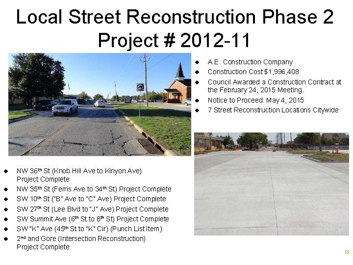 Local Street Reconstruction Phase 2 Project # 2012 -11 u u u NW 36