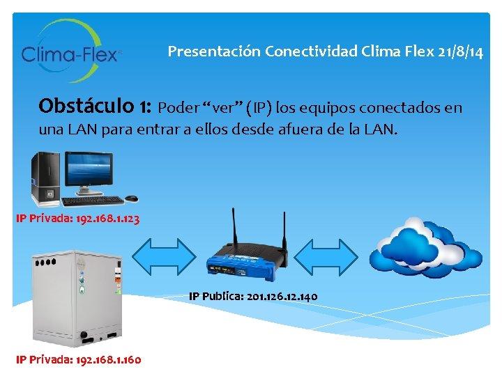 """Presentación Conectividad Clima Flex 21/8/14 Obstáculo 1: Poder """"ver"""" (IP) los equipos conectados en"""