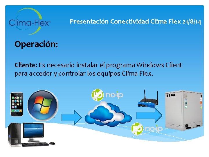 Presentación Conectividad Clima Flex 21/8/14 Operación: Cliente: Es necesario instalar el programa Windows Client