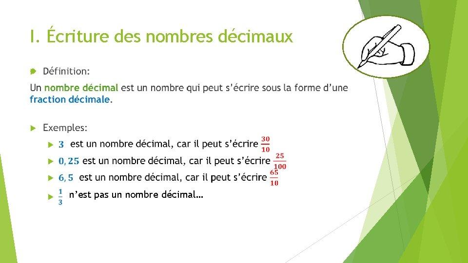 I. Écriture des nombres décimaux n'est pas un nombre décimal…