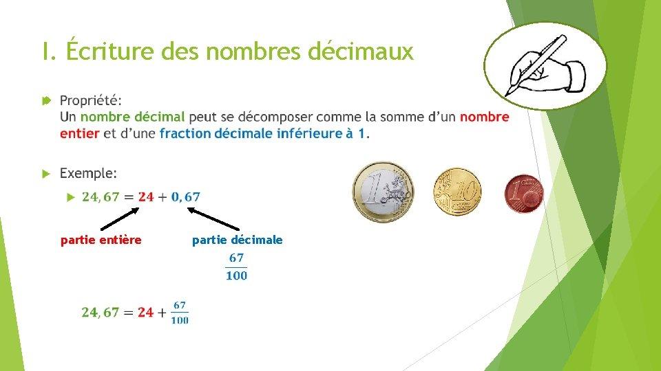 I. Écriture des nombres décimaux partie entière partie décimale