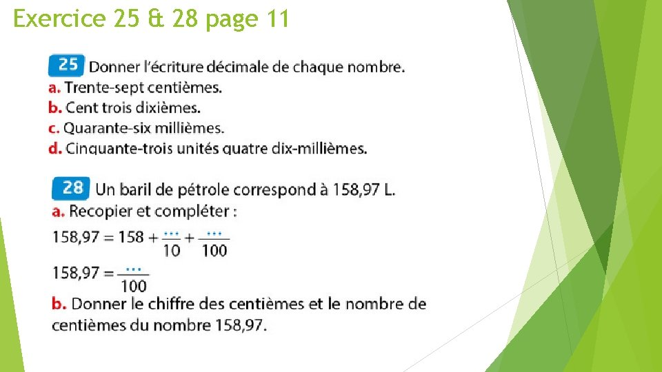 Exercice 25 & 28 page 11