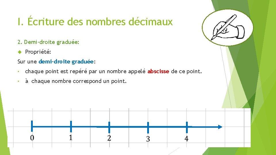 I. Écriture des nombres décimaux 2. Demi-droite graduée: Propriété: Sur une demi-droite graduée: •