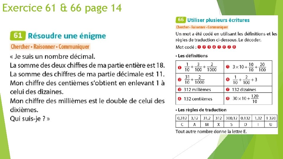 Exercice 61 & 66 page 14