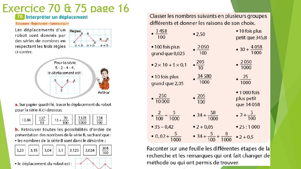 Exercice 70 & 75 page 16