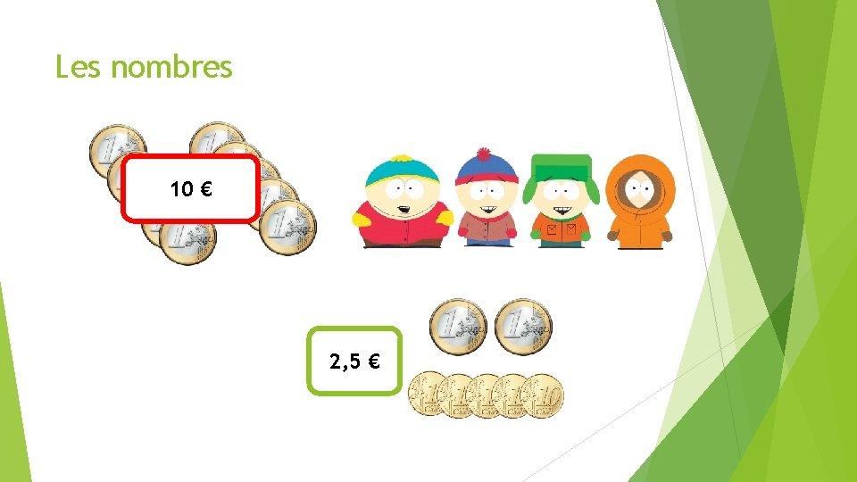 Les nombres 10 € 2, 5 €