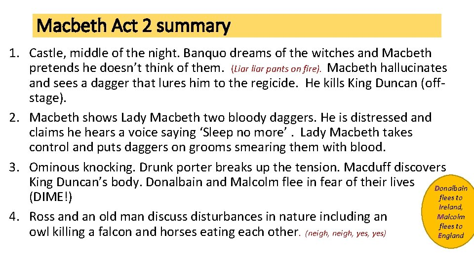 Macbeth Act 2 summary 1. Castle, middle of the night. Banquo dreams of the