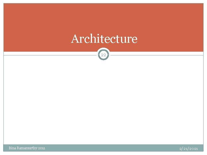 Architecture 22 Bina Ramamurthy 2011 2/21/2021