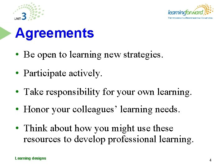 Agreements • Be open to learning new strategies. • Participate actively. • Take responsibility