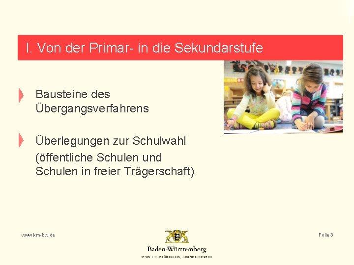 I. Von der Primar- in die Sekundarstufe Bausteine des Übergangsverfahrens Überlegungen zur Schulwahl (öffentliche
