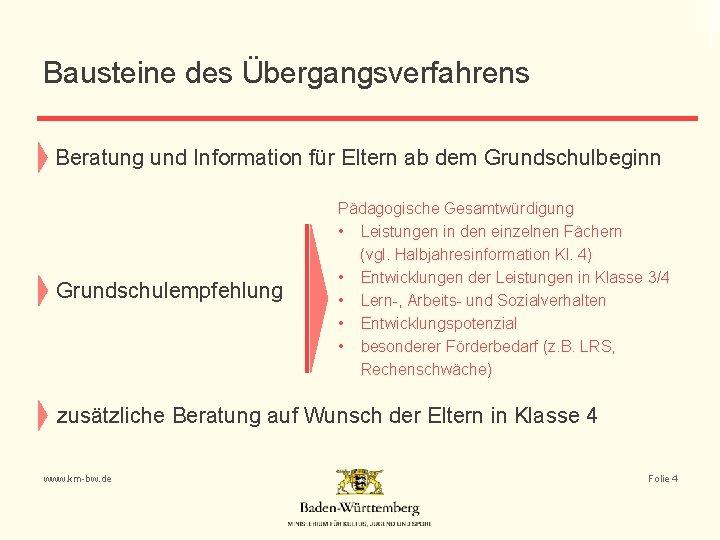 Bausteine des Übergangsverfahrens Beratung und Information für Eltern ab dem Grundschulbeginn Grundschulempfehlung Pädagogische Gesamtwürdigung