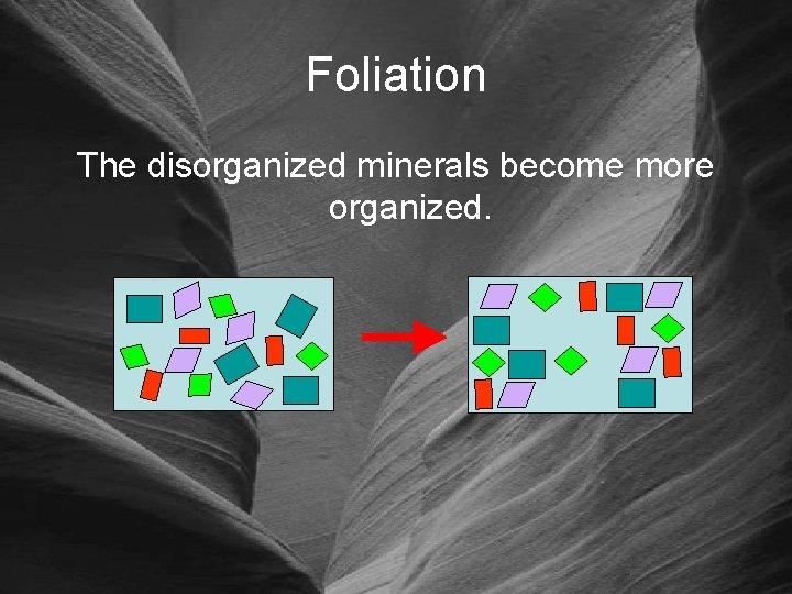 Foliation The disorganized minerals become more organized.