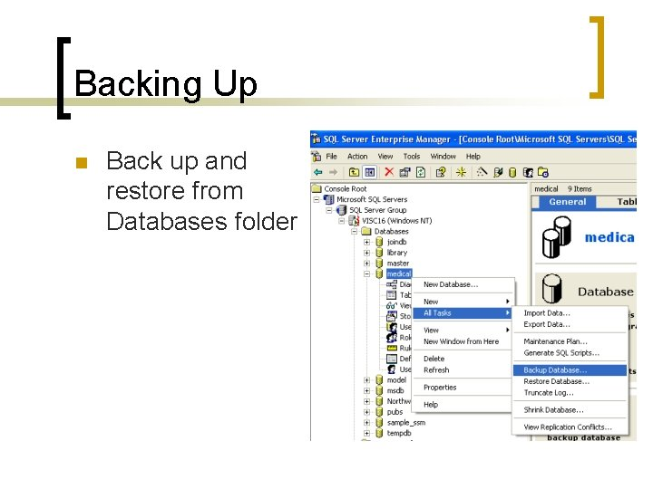 Backing Up n Back up and restore from Databases folder