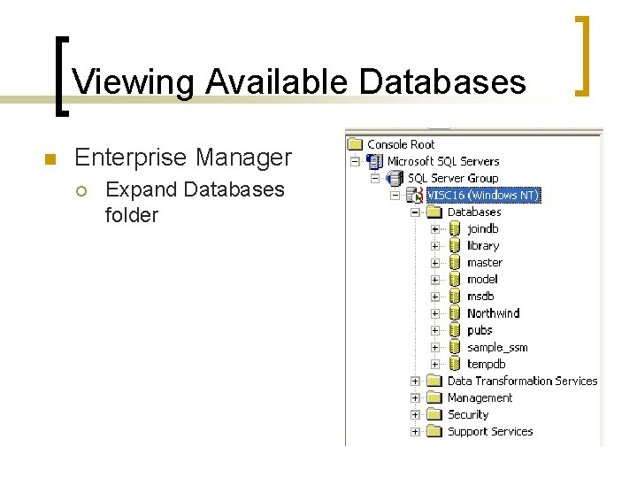 Viewing Available Databases n Enterprise Manager ¡ Expand Databases folder