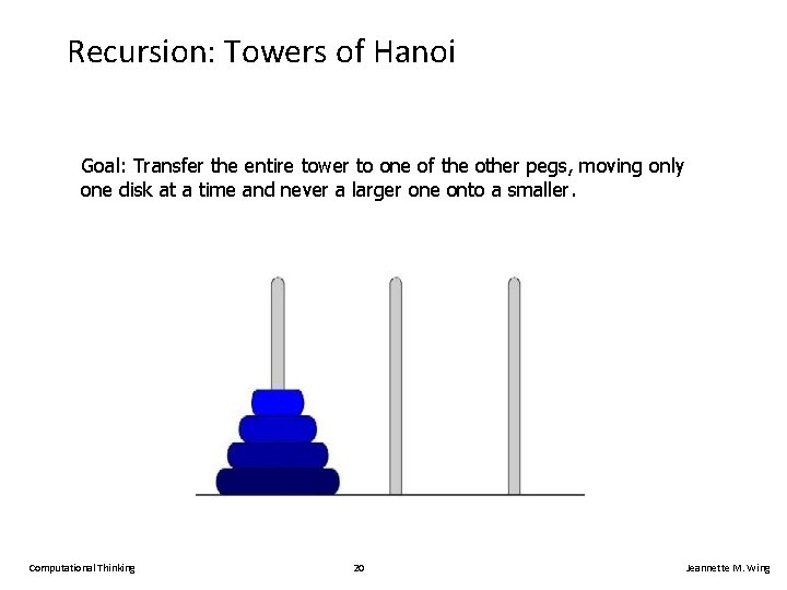 Recursion: Towers of Hanoi Goal: Transfer the entire tower to one of the other