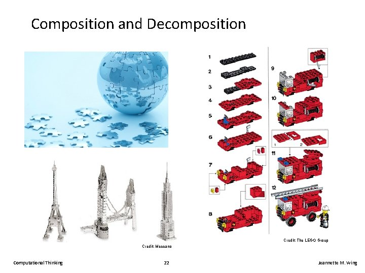 Composition and Decomposition Credit: The LEGO Group Credit: Meccano Computational Thinking 22 Jeannette M.