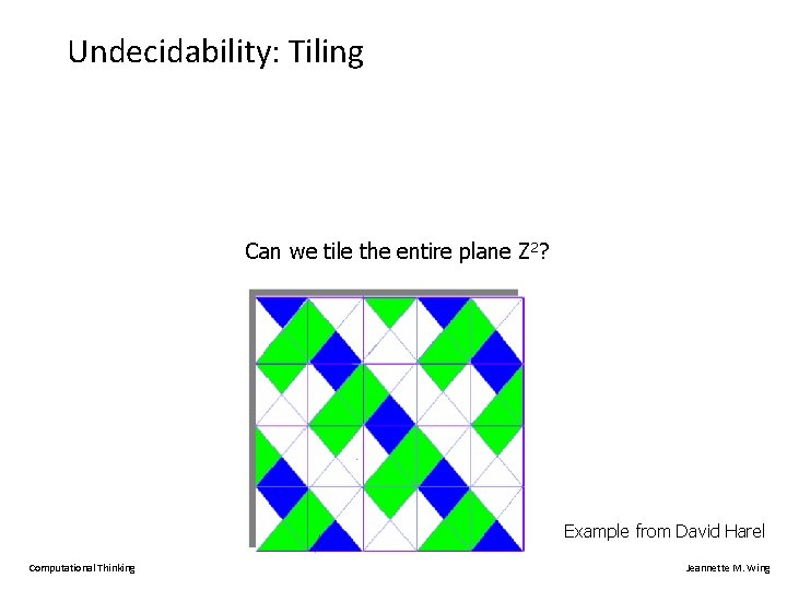 Undecidability: Tiling Can we tile the entire plane Z 2? Example from David Harel