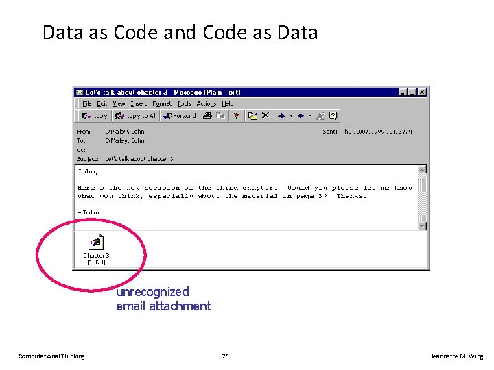 Data as Code and Code as Data unrecognized email attachment Computational Thinking 26 Jeannette
