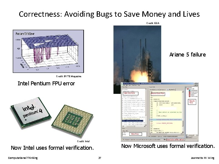 Correctness: Avoiding Bugs to Save Money and Lives Credit: ESA Ariane 5 failure Credit:
