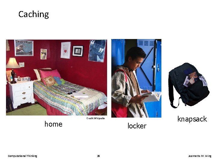 Caching home Computational Thinking Credit; Wikipedia locker 28 knapsack Jeannette M. Wing