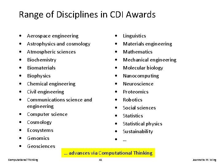 Range of Disciplines in CDI Awards • • • • Aerospace engineering • Linguistics